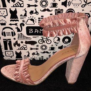 Pink Velvet Rampage Heeled Sandals - NIB